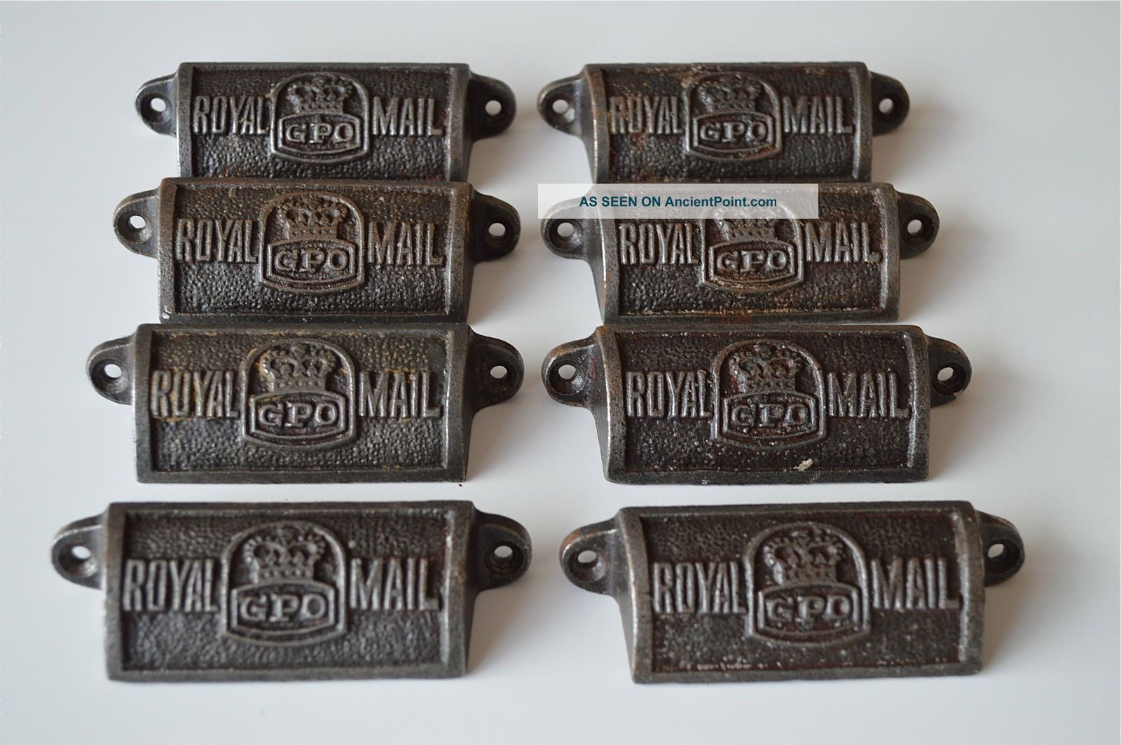 8 Vintage Cast Iron Royal Mail Gpo Drawer Pull Handles Chest Post Office Gpo Other Antique Hardware photo