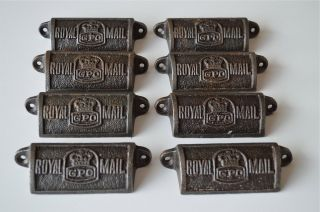 8 Vintage Cast Iron Royal Mail Gpo Drawer Pull Handles Chest Post Office Gpo photo
