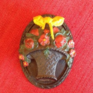 Antique Hubley Cast Iron Door Knocker 1930 ' S Painted Flower Basket photo