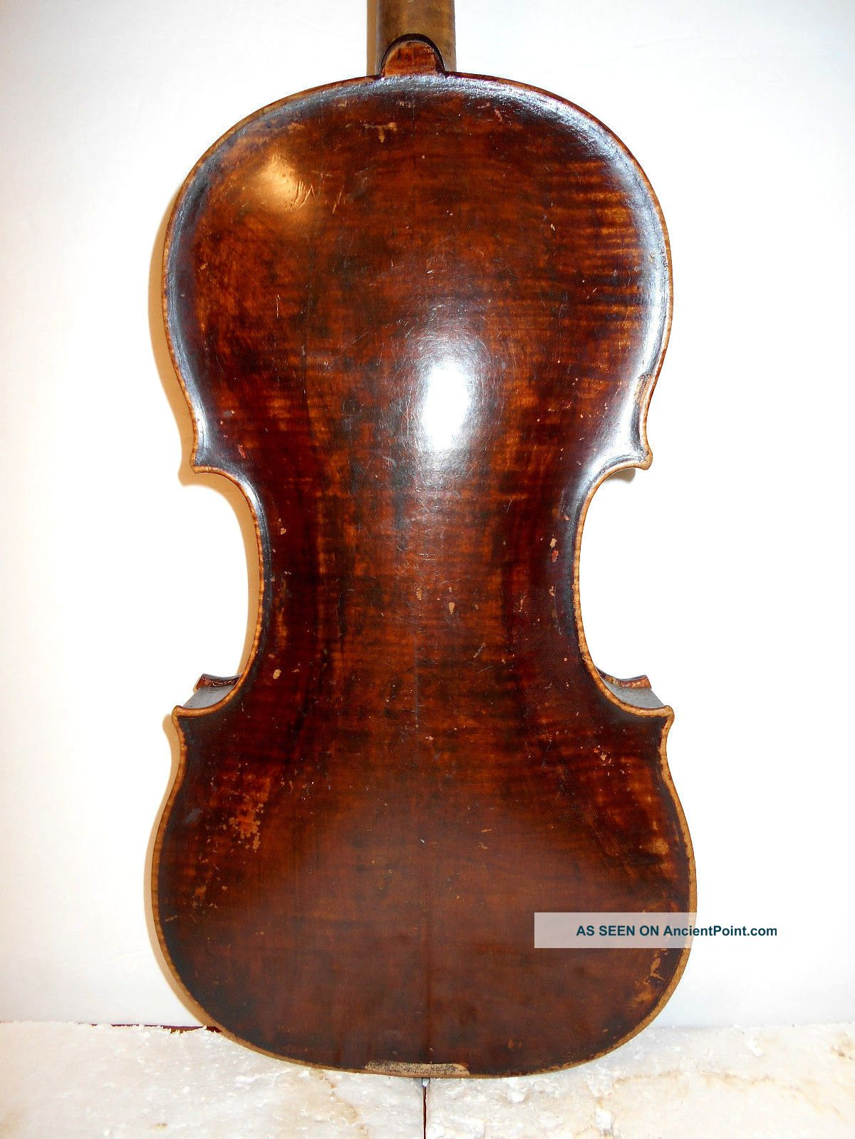Very Old Antique Vintage Early 1800s 2 Pc Back Full Size Violin String photo