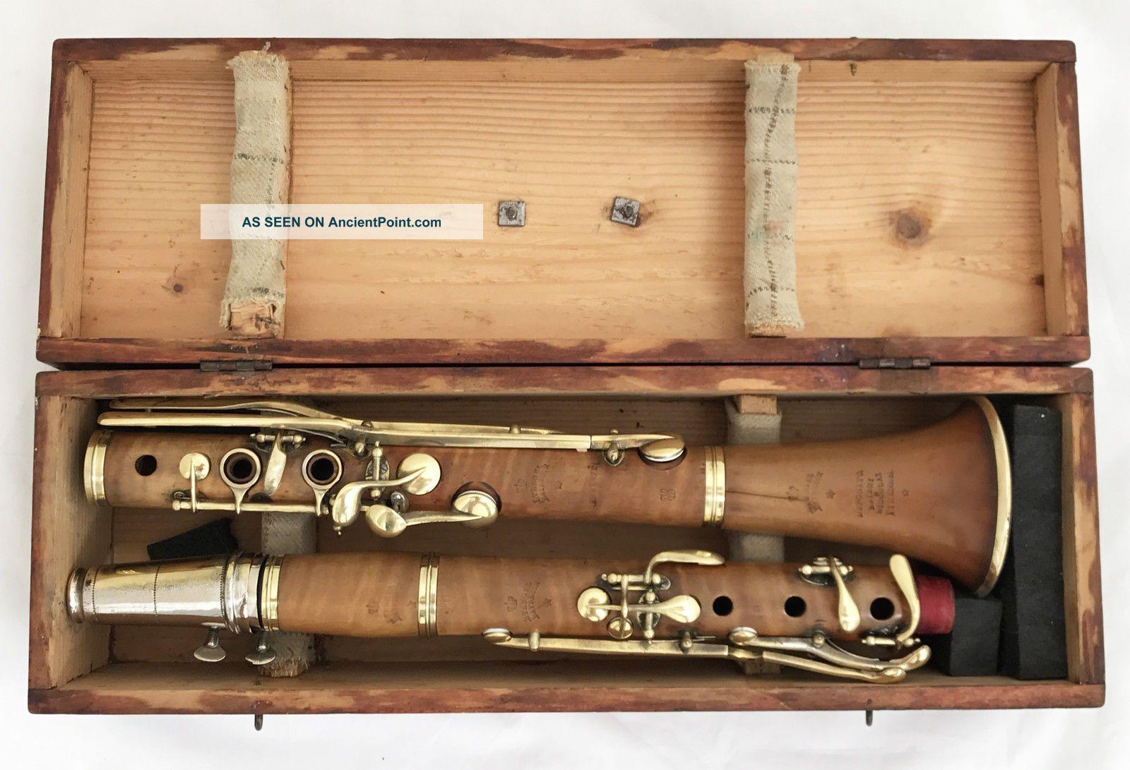Antique German Boxwood Bb Clarinet Stengel Bayreuth.  442hz - Complete Restored Wind photo