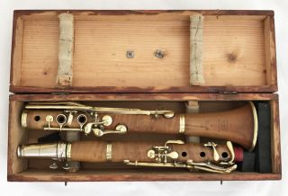 Antique German Boxwood Bb Clarinet Stengel Bayreuth.  442hz - Complete Restored photo
