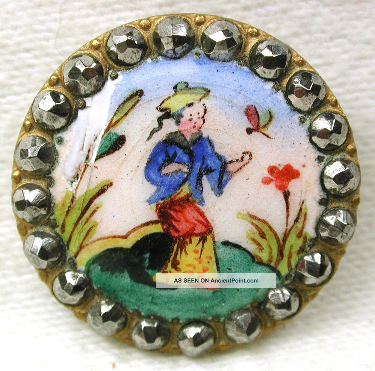 Antique French Enamel Button Woman & Dragonfly W/ Cut Steel Border - 7/8