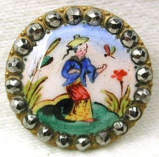 Antique French Enamel Button Woman & Dragonfly W/ Cut Steel Border - 7/8