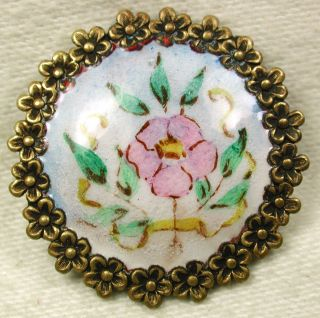 Antique Enamel Button Hand Painted Flowers W/ Brass Flowers Border 1 & 1/16