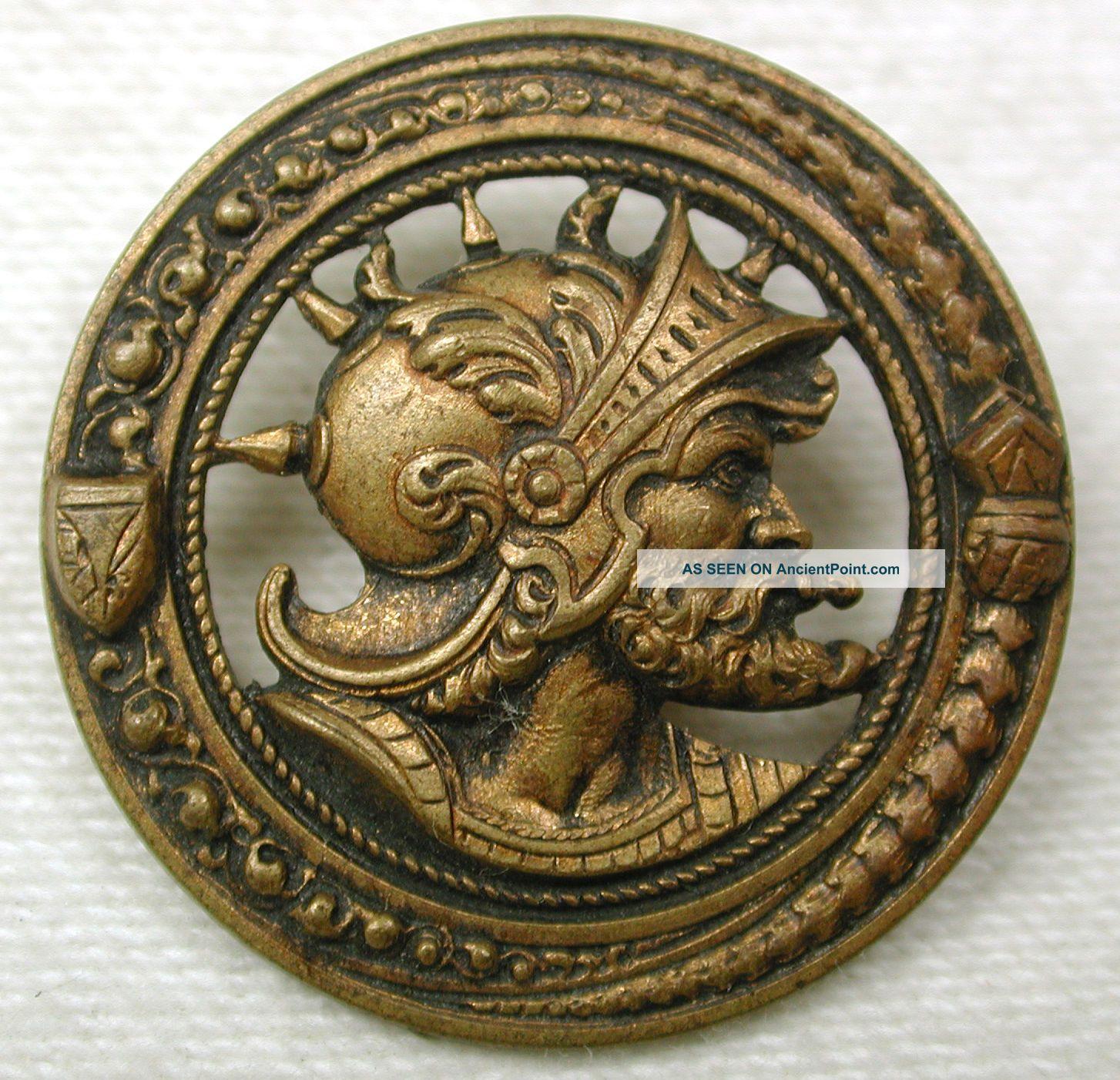Antique Pierced Brass Button Man Wears Spiked Helmet & Beard 1