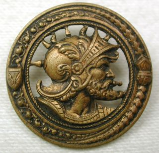 Antique Pierced Brass Button Man Wears Spiked Helmet & Beard 1