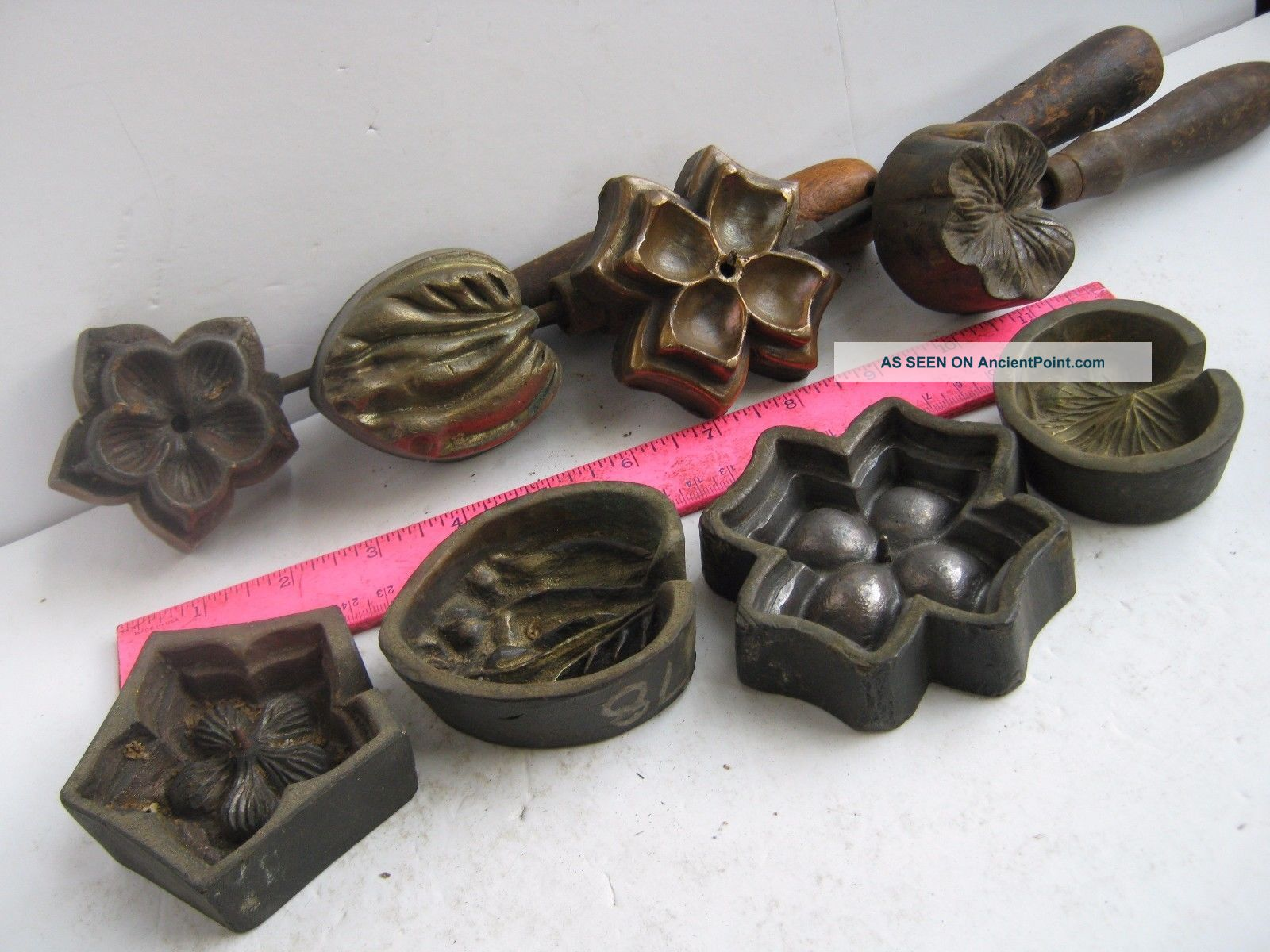 Four (4) Bronze Molds Millinery 2 Silk Flowers & 2 Leaves Industrial Molds photo
