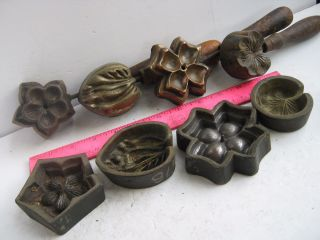Four (4) Bronze Molds Millinery 2 Silk Flowers & 2 Leaves photo