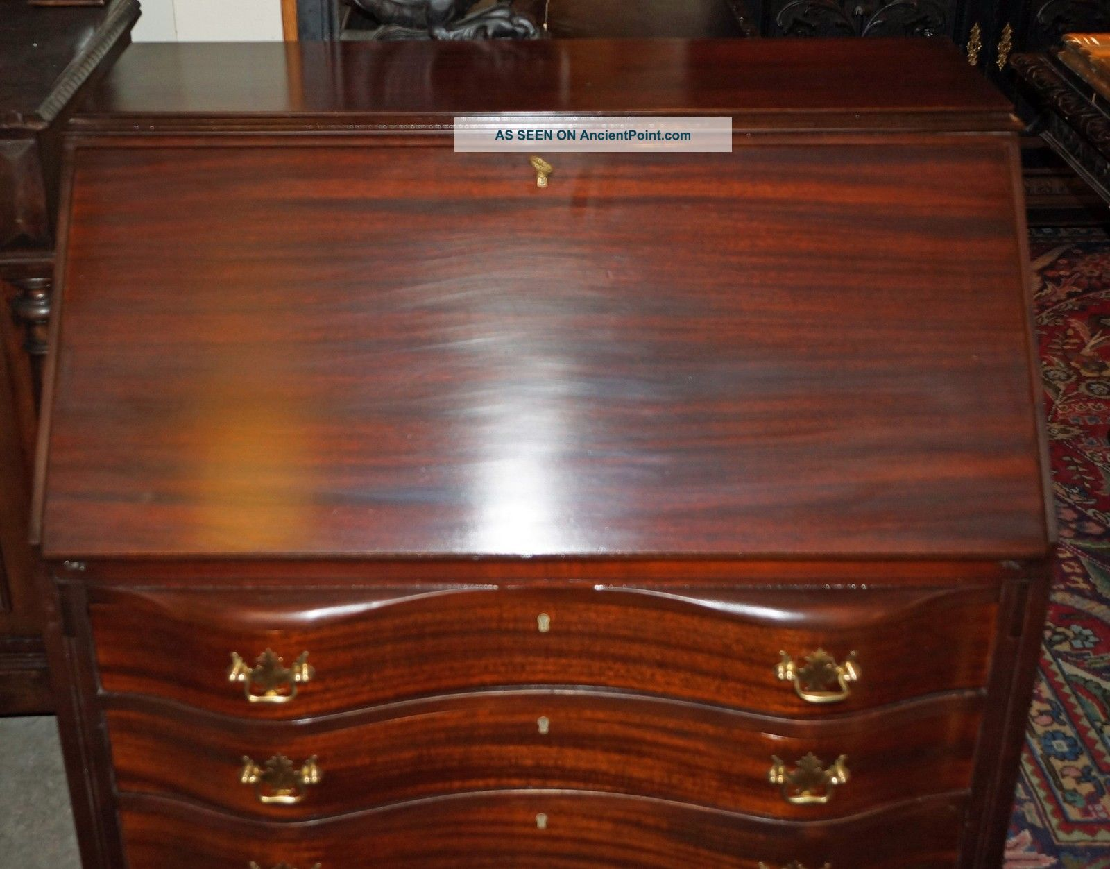 Antique Gany Chippendale Serpentine Secretary Desk Ball Claw Feet Red