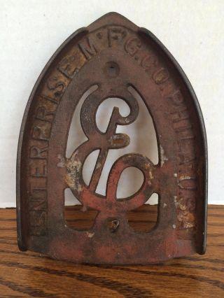 Antique Cast Iron Metal Iron Rest Trivet Enterprise Mfg Co Philadelphia Usa photo