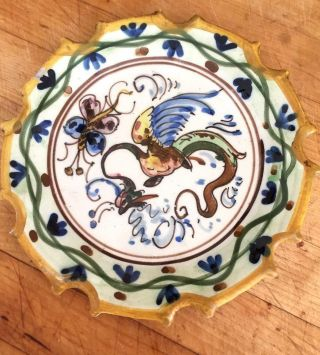 Rare Antique Salvini Italian Majolica Plate C.  1890 - 1900 Griffin And Butterfly photo