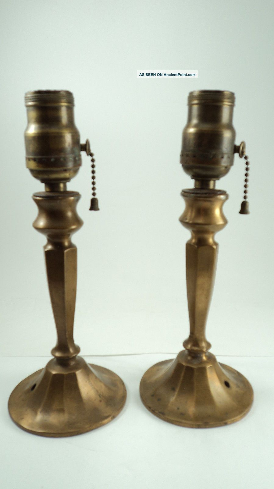 Very Pair Antique Boudoir Brass Lamps Arts Crafts Lamps photo