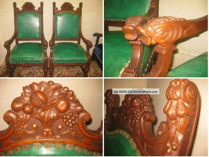 Antique Carved Oak Fish Throne Side Parlor Arm Chairs Ornate Carving 1800-1899 photo
