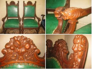 Antique Carved Oak Fish Throne Side Parlor Arm Chairs Ornate Carving photo