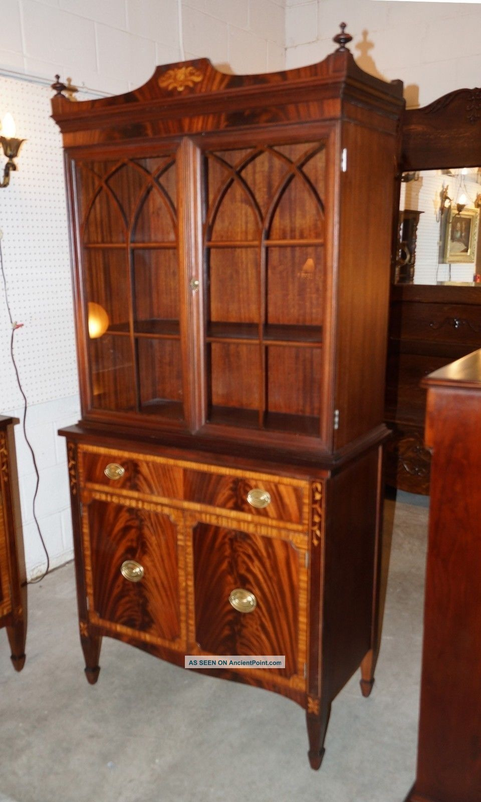 Antique Flame Mahogany Sheraton Style Banded & Inlaid Breakfront China Cabinet 1900-1950 photo