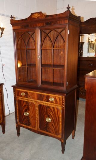 Antique Flame Mahogany Sheraton Style Banded & Inlaid Breakfront China Cabinet photo