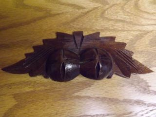 Antique Walnut Wood Fruit Nut Leaves Drawer Pull photo