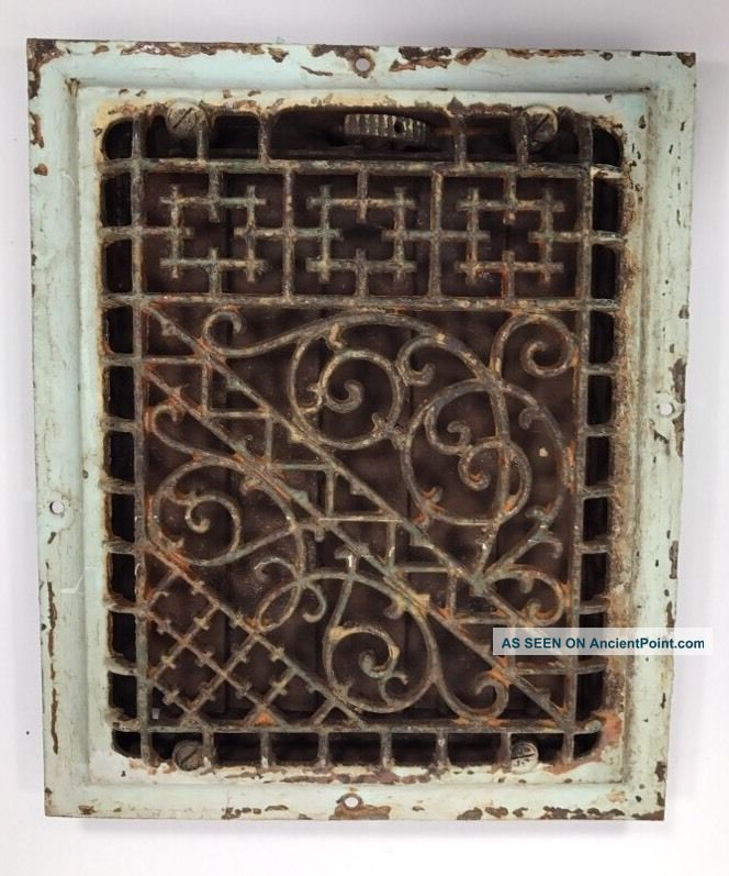 Antique Cast Iron Heat Register Vent Grate Victorian Ornate Scroll Wall 8 X 10 Heating Grates & Vents photo