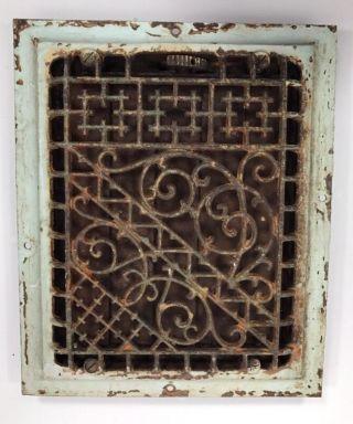 Antique Cast Iron Heat Register Vent Grate Victorian Ornate Scroll Wall 8 X 10 photo