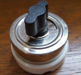 Vintage Hart & Hegeman Chrome / White Porcelain Rotary Turn Light Switch On/off photo