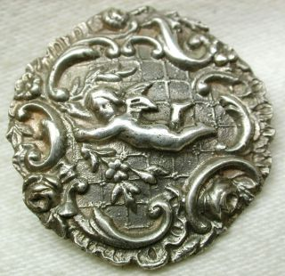 Antique Sterling Silver Button Elaborate Cherub Design 1 & 3/16