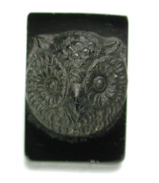 Antique Black Glass Button Rectangle Owl Face Unusual 7/8
