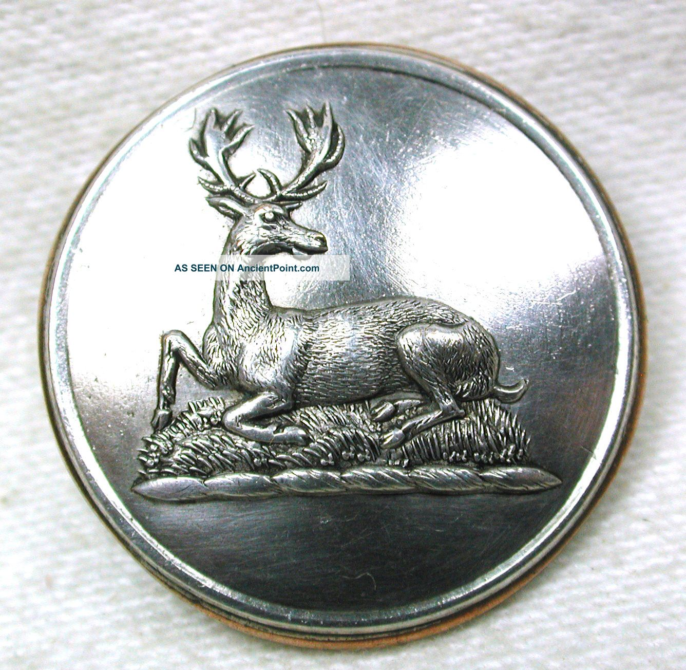 Antique Silver On Copper Livery Button - Resting Deer Or Elk - Dowler - 1