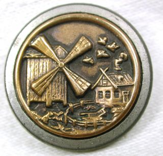 Antique Brass Button Detailed Windmill & Farm House Scene - 1