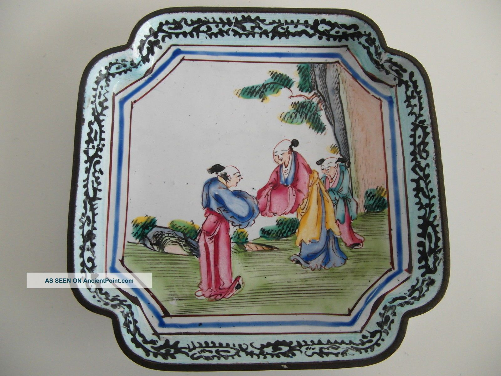Antique Chinese 18th Century Qianlong Cantonese Famille Rose Enamel Dish Plates photo