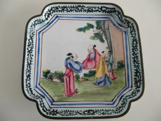 Antique Chinese 18th Century Qianlong Cantonese Famille Rose Enamel Dish photo