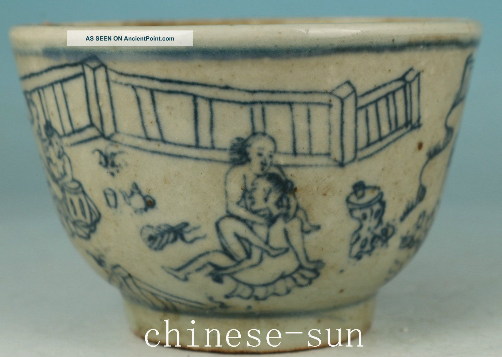 Chinese Old Blue And White Porcelain Hand Painting Ancient Married Bowl Bowls photo