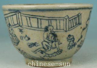 Chinese Old Blue And White Porcelain Hand Painting Ancient Married Bowl photo