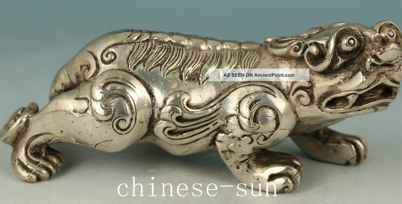 Asian Chinese Old Copper Plating Silver Carving Kirin Collect Statue Noble Gift Other Antique Chinese Statues photo