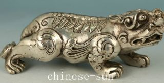 Asian Chinese Old Copper Plating Silver Carving Kirin Collect Statue Noble Gift photo