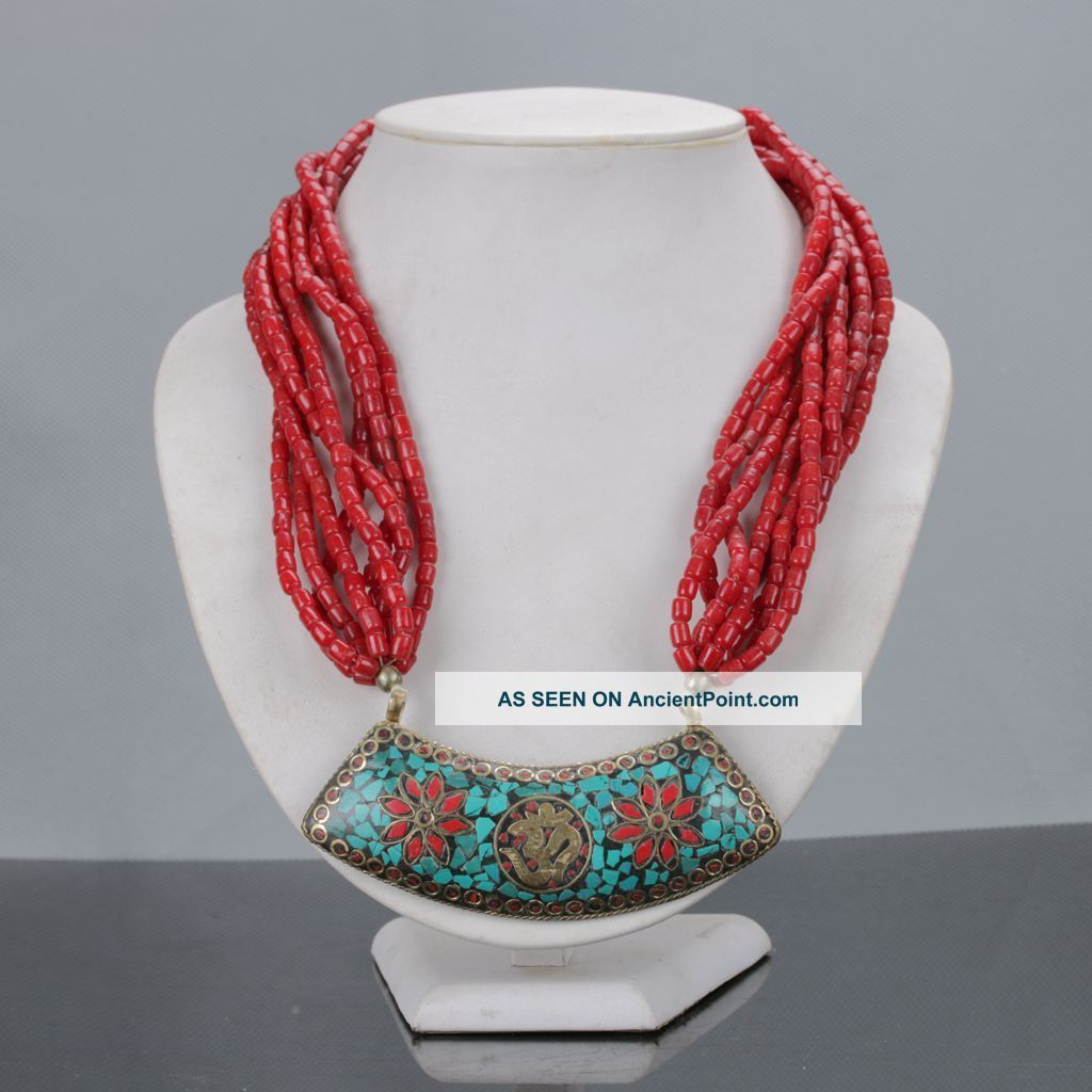 Tibetan Handwork Red Coral Necklaces Inlayturquoise Pendant & Necklaces C626 Necklaces & Pendants photo