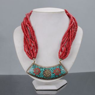 Tibetan Handwork Red Coral Necklaces Inlayturquoise Pendant & Necklaces C626 photo