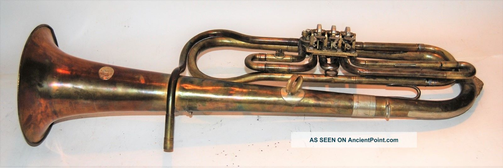 Tenor Horn By Adolfo Lapini - 1899 3 Rotary Valve,  Tall Design Brass photo