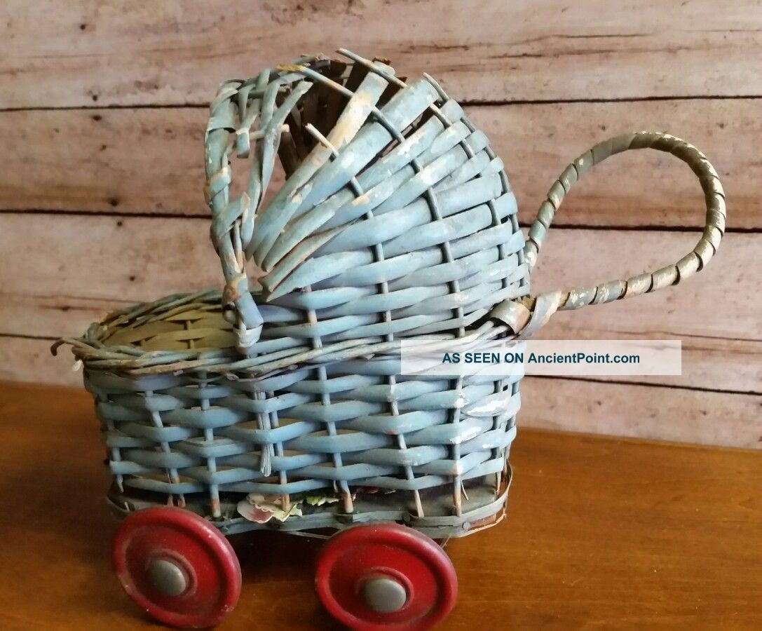 Vintage / Antique Small Baby Carriage Buggy Blue With Red Wheels Made In Japan Baby Carriages & Buggies photo