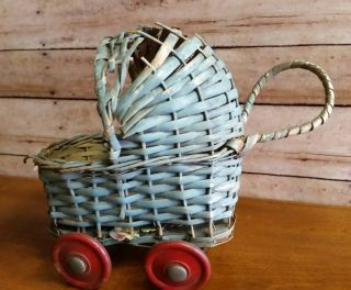 Vintage / Antique Small Baby Carriage Buggy Blue With Red Wheels Made In Japan photo