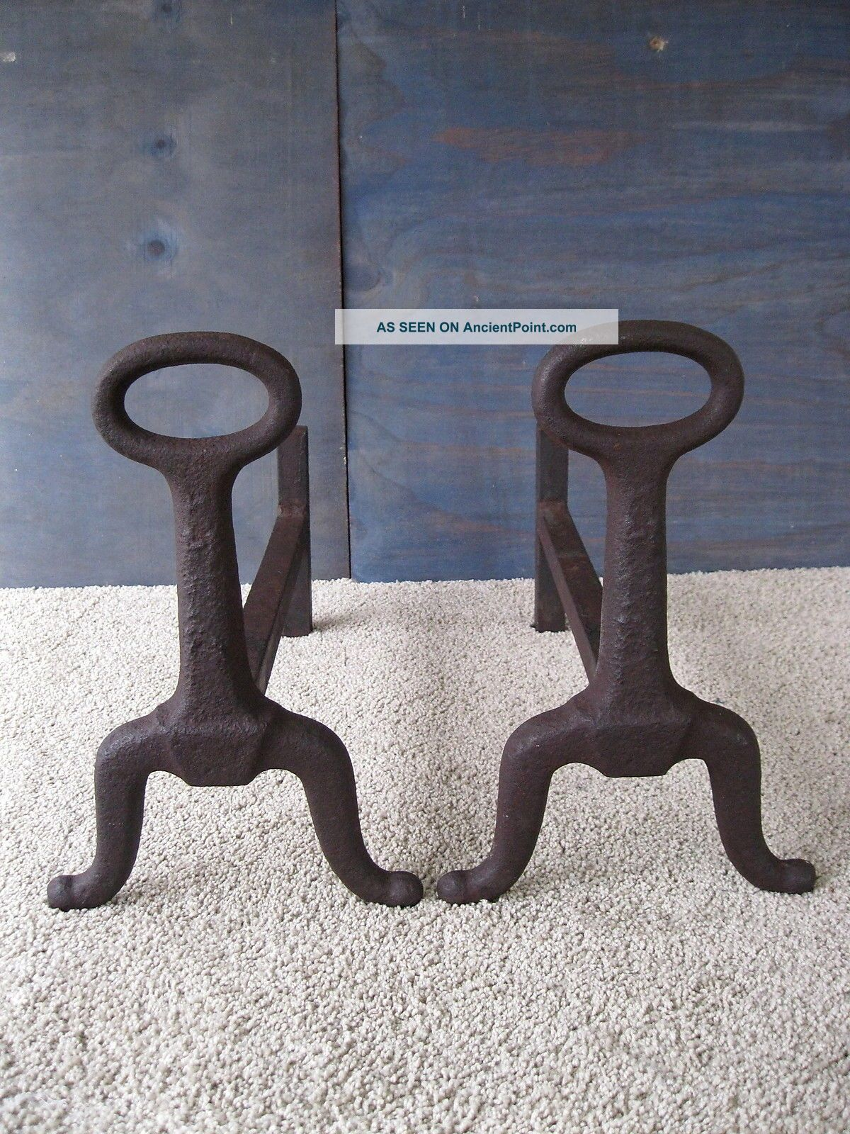 Antique Andirons Cast Iron 1890 - 1910 13