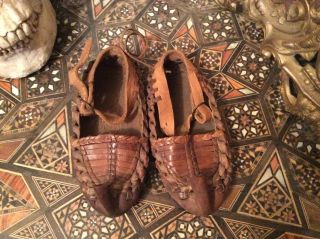 Rare Antique Baby/child Leather Moccasin Shoes photo