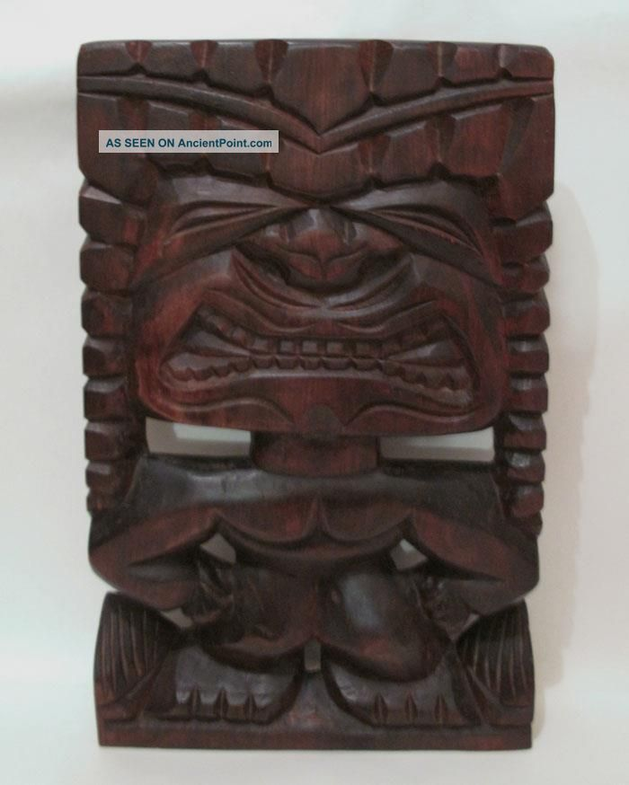 Large Vintage Hand Carved Wooden Hawaiian Tiki Wall Panel Hanging Bar Pacific Islands & Oceania photo