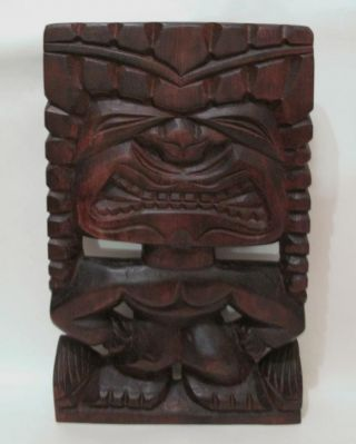 Large Vintage Hand Carved Wooden Hawaiian Tiki Wall Panel Hanging Bar photo