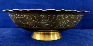 Antique Large Footed Brass Chinese Bowl Engraved & Marked photo