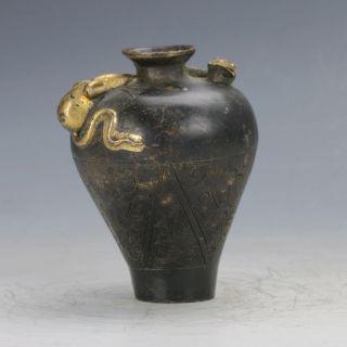 Old Peiking (18 19th) Brass Handwork Snake Motif Pot C445 photo