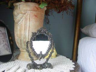 Antique Cast Brass Vanity Mirror Small Ornate Cherub Victorian Style photo