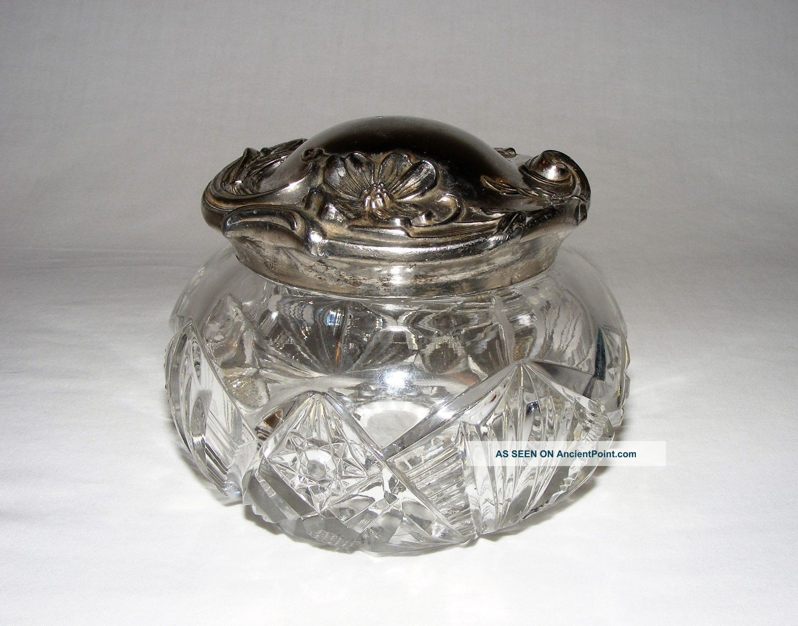 Antique Edwardian Art Nouveau Cut Glass Jewelry Boudoir Trinket Box Silver Lid Art Nouveau photo