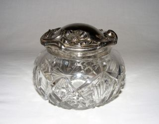 Antique Edwardian Art Nouveau Cut Glass Jewelry Boudoir Trinket Box Silver Lid photo