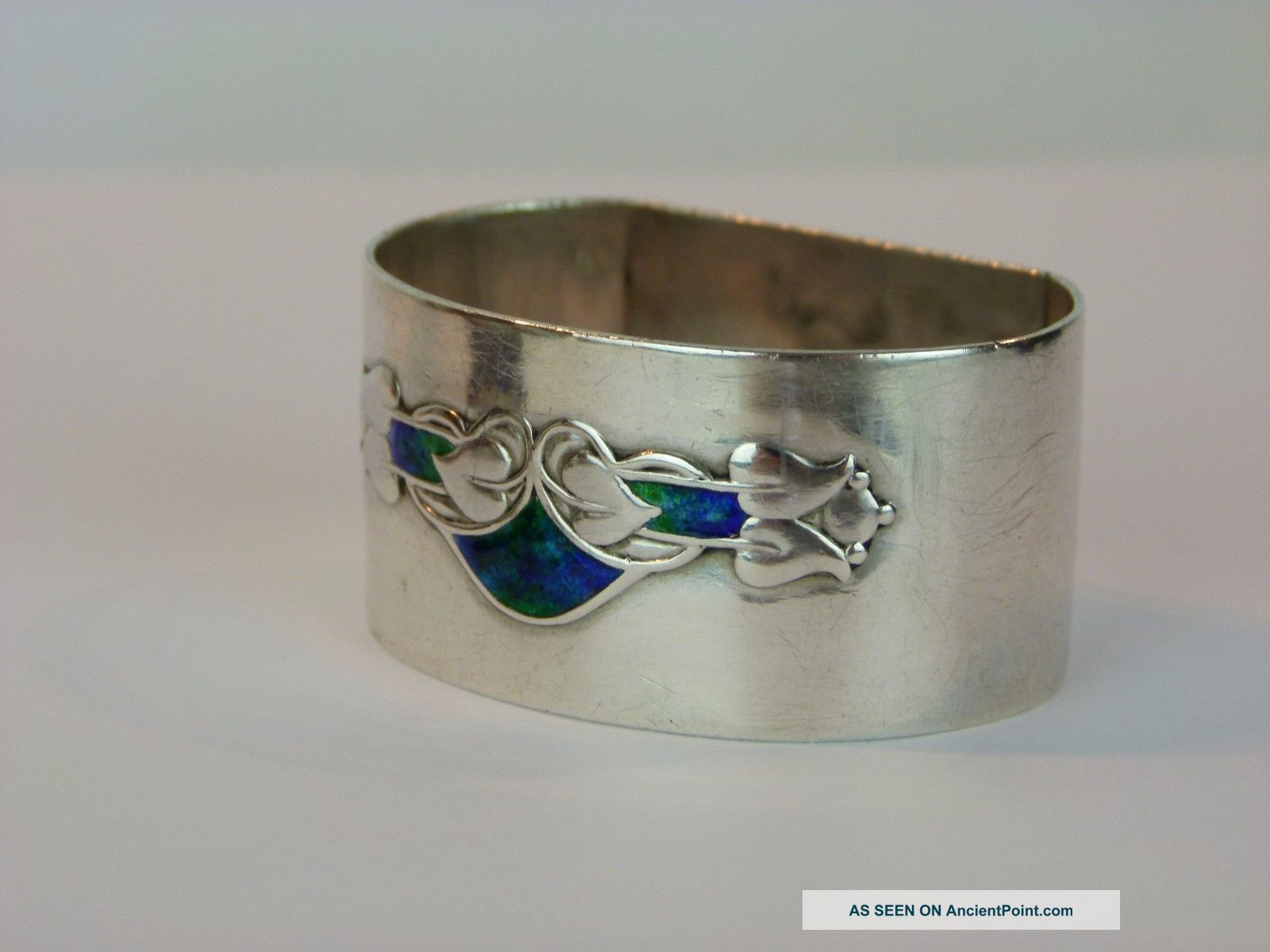 A Wonderful Archibald Knox Silver And Enamel Napkin Ring.  Haseler/ Liberty & Co Art Nouveau photo